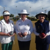 Ready to contest the singles final, Helen Mackenzie & Cathy Roscarel. Helen Reid, vice president SSDWBA to act as marker.