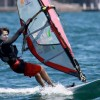 Jess Crisp has taken the RS:X Sailboard lead