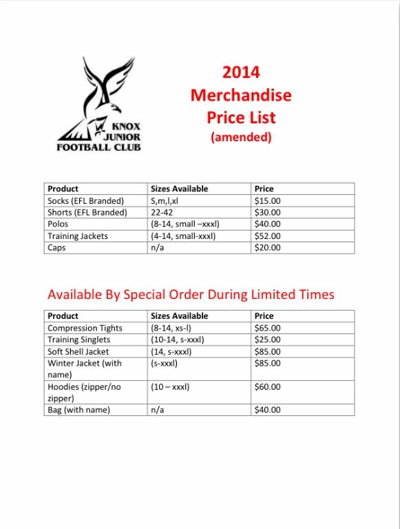 Price List Knox Junior Football Club Sportstg