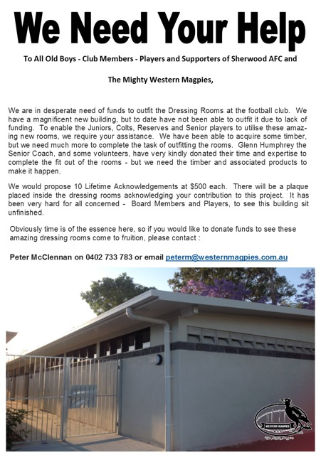 we need your help-Western Magpies AFC