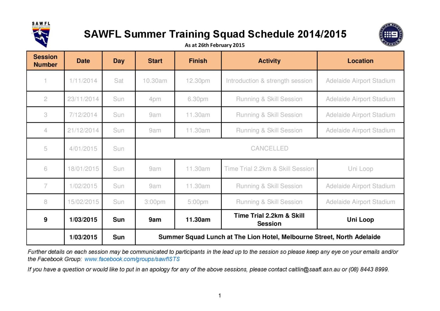 Training Schedule - updated 26th February 2015 - South Australian