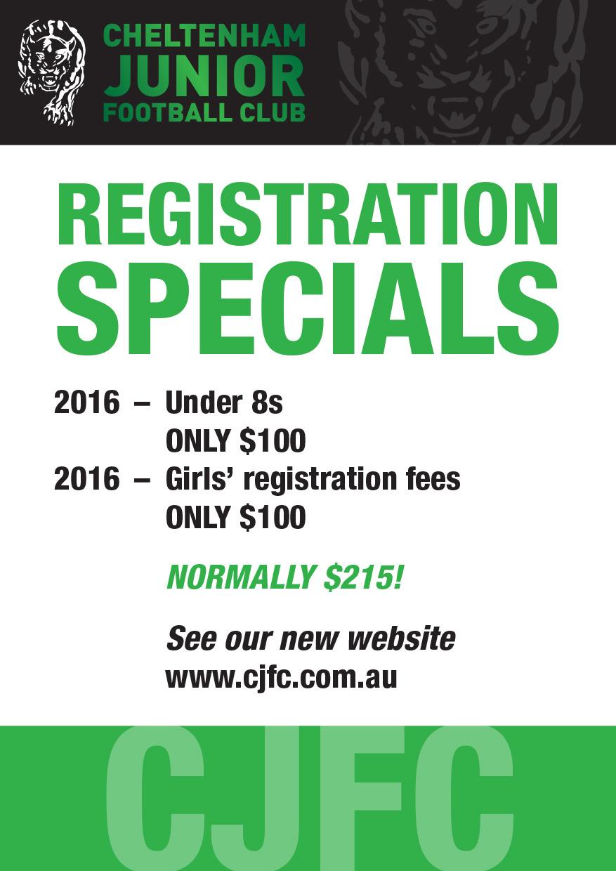 Registration Specials 2016