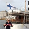 David Farr with the burgee at Market Square, Helsinki, Finland