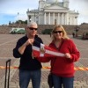 David and Anna Farr with the burgee at Senate Square, Helsinki, Finland