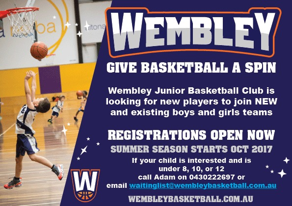 Join Wembley Junior Basketball - email waitinglist@wembleybasketball.com.au