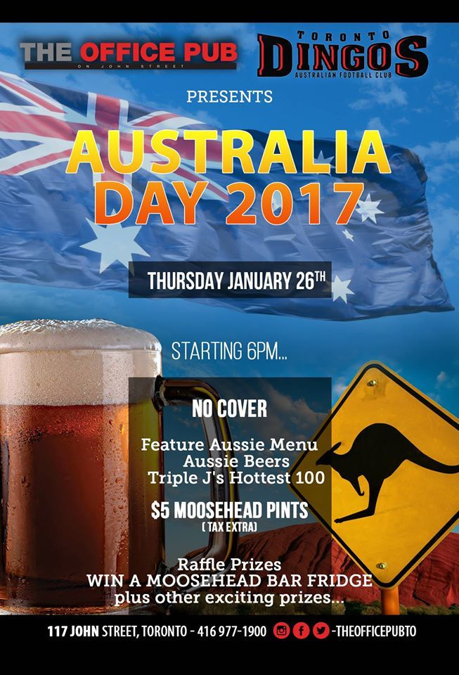 Australia Day 2017 at The Office Pub poster